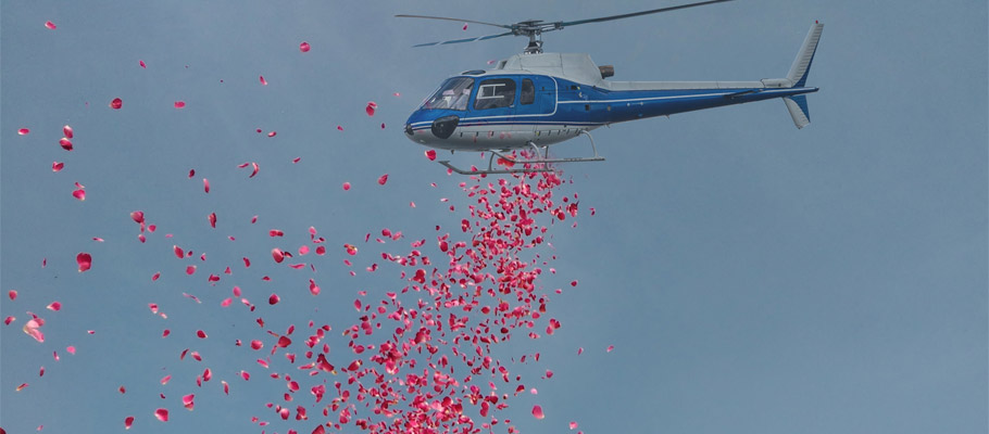 Flower Drop by helicopter
